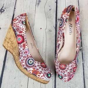 ALBERTO | slip-on wedge mandala design shoes
